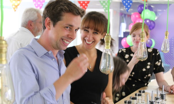 Ellie and James drinking gin at ForrestBrown Gin Mixer