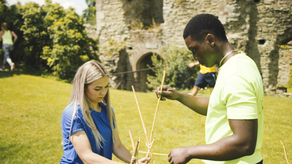 Team building trebuchet from bamboo at Usk Castle