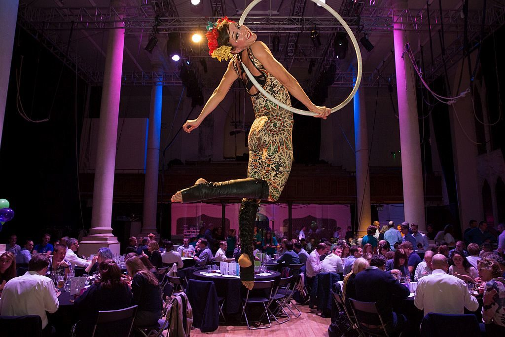 Aerialist in hoop at Circomedia
